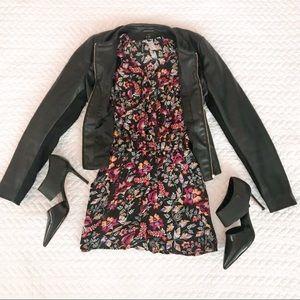 H&M Black Floral Tab Long Sleeve Romper 2
